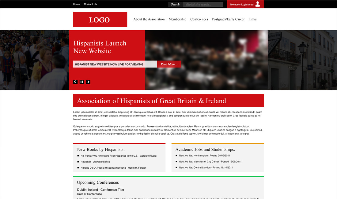 A new clean looking white and red layout for the Association of Hispanists Website