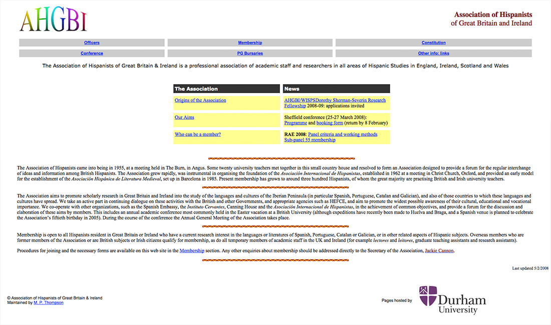 An old looking Association of Hispanists website from 2008. White, with Word Art Logo and Yellow content area