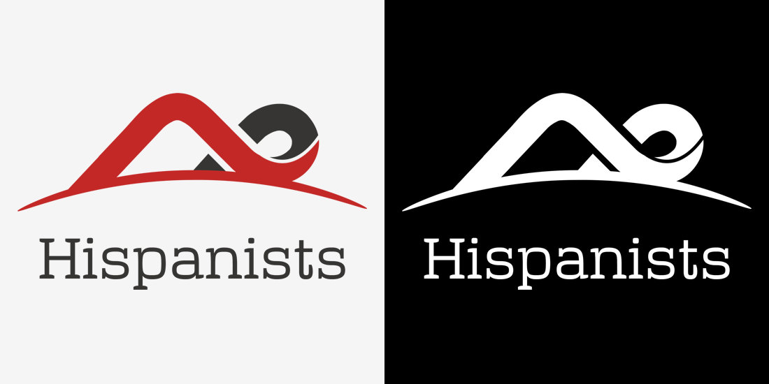 A curved overlapping shape, Association of Hispanists Branding