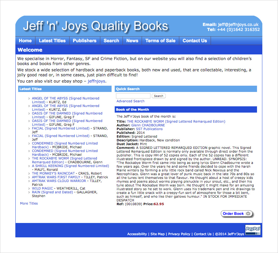 A screenshot showing the old Jeff'n'Joys Website Homepage