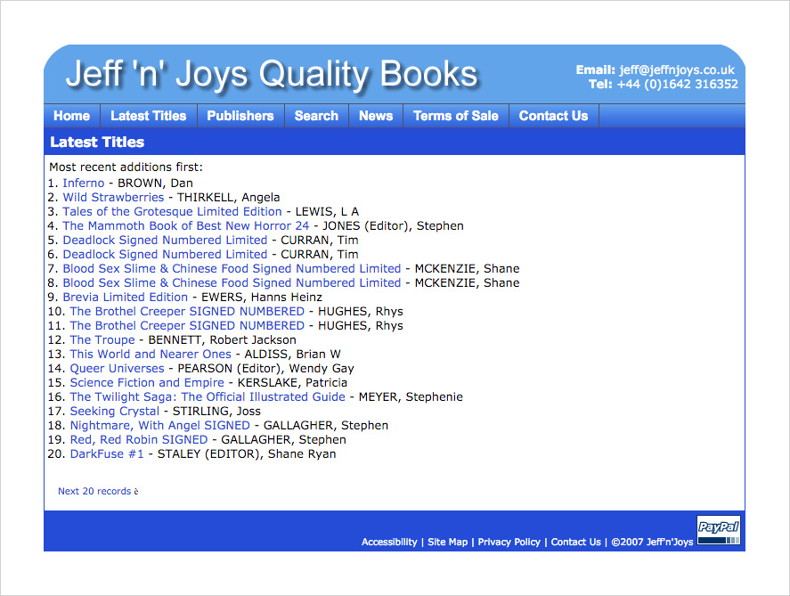 A screenshot of The Jeff'n'Joys Old Latest Titles Page