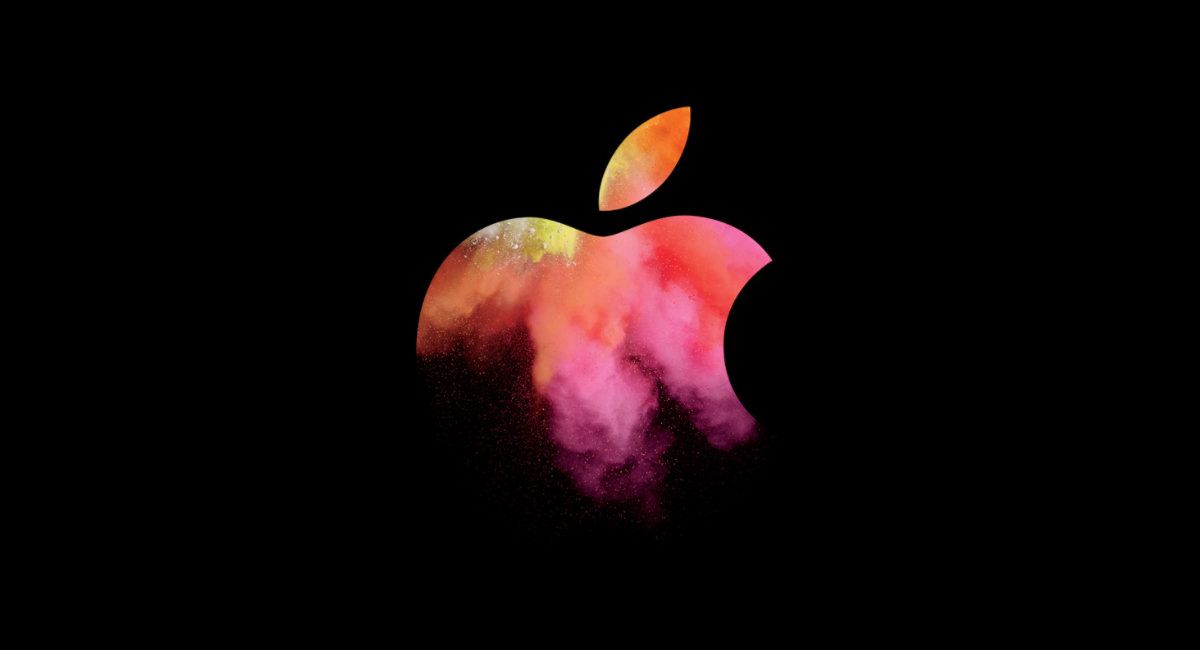 Photo showing the graphic used for the Apple MacBook launch Event in 2016. Exploded colours set inside of the Apple brand.